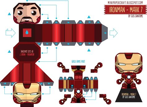 Ironman Papercraft - mini papercraft ironman 7