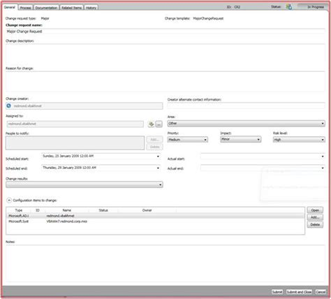 process change request form template report configuration manager software