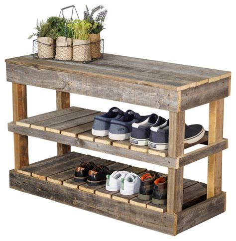 Barnwood Shoe Rack Farmhouse Shoe Storage by (del)Hutson Designs
