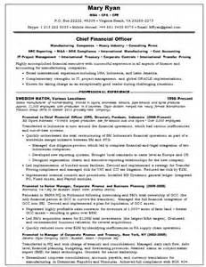 Cfo Resume Templates by Resume Sles Chief Financial Officer Agriculture