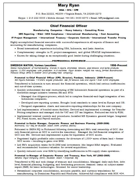 resume sles chief financial officer agriculture