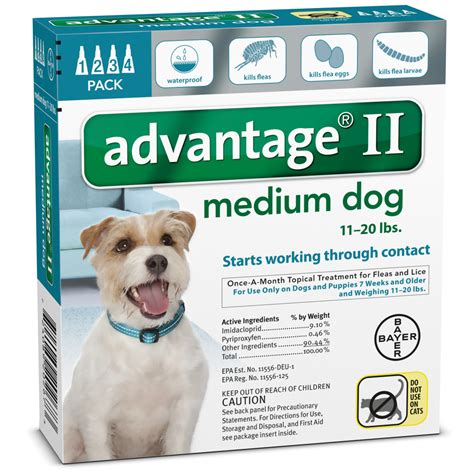 advantage for dogs 11 20 lbs 4 month advantage ii flea medium for dogs 11 20 lbs