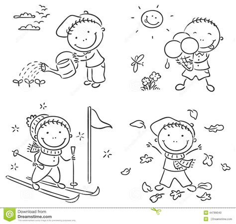seasons coloring pages preschool four seasons clipart black and white