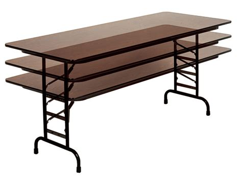 Best Folding Table by Adjustable Height Rectangular Melamine Top Folding Table