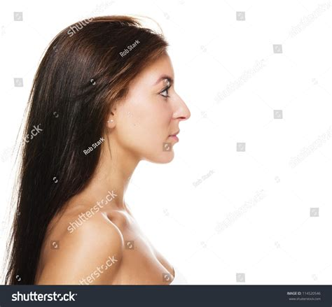 long noses pretty side view beautiful brunette woman on stock photo