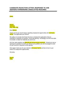Sending Rejection Letter Via Email Sle Candidate Rejection Letter Letter Simple Exle