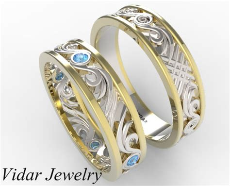 his and hers two tone gold blue wedding band set