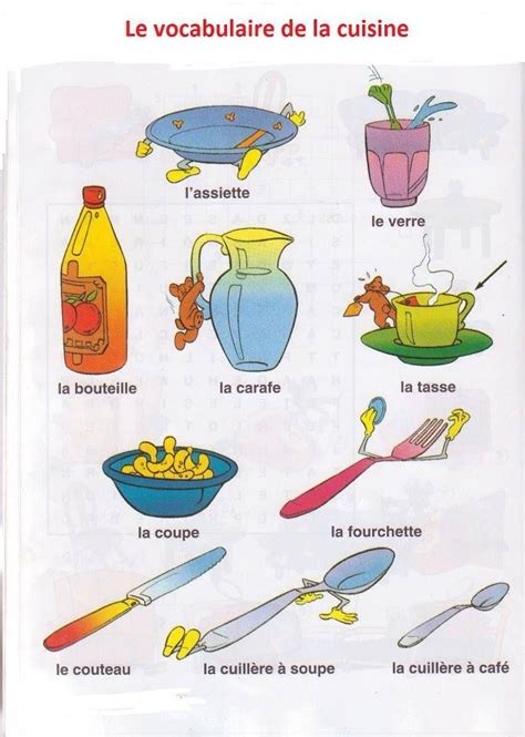 vocabulaire ustensiles de cuisine le vocabulaire de la cuisine fle nourriture