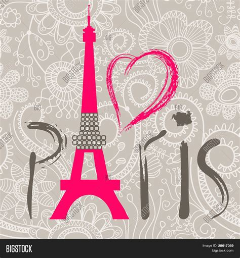 imagenes fashion love paris lettering over lace seamless pattern stock vector
