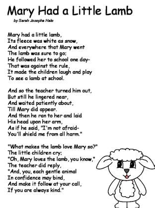 Mary Had A Little Lamb Coloring Pages