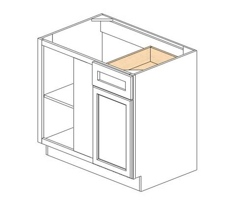 42 inch blind corner base cabinet bblc39 42 36 quot w ice white shaker blind base corner cabinet