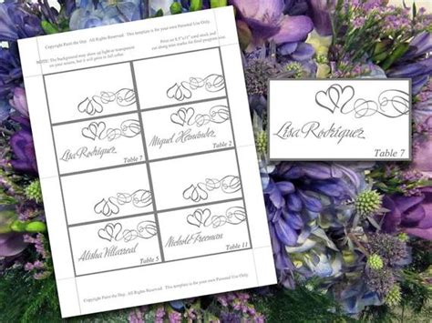 place cards heart scroll design 8 per page office templates
