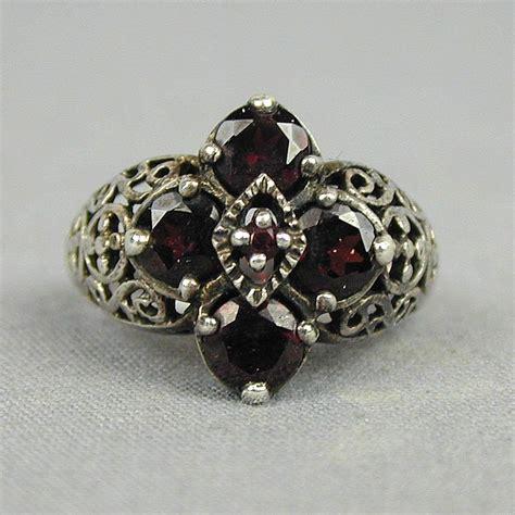 Garnet Sterling Silver Ring vintage sterling silver garnet ring gorgeous design from