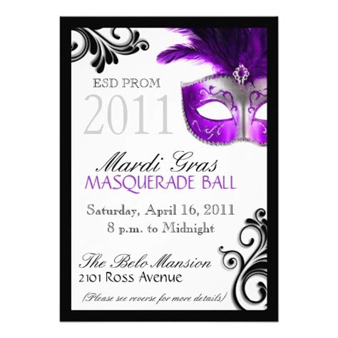 masquerade invitations templates prom masquerade invitation 5 quot x 7 quot invitation card zazzle