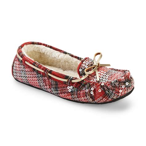 womens sequin slippers route 66 s milah plaid sequin moccasin slipper