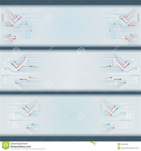 header layout set of banners with electronic circuits and space for text