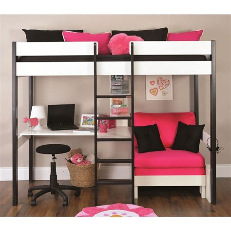 bunk beds with desks under them