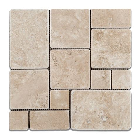 opus pattern travertine tiles durango cream travertine 4 pieced opus mini pattern