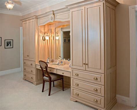 Double armoire makeup station traditional powder room boston