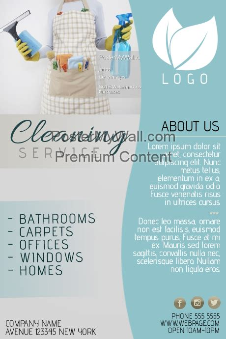Copy Of Cleaning Service Flyer Template Blue Postermywall Cleaning Company Flyer Template