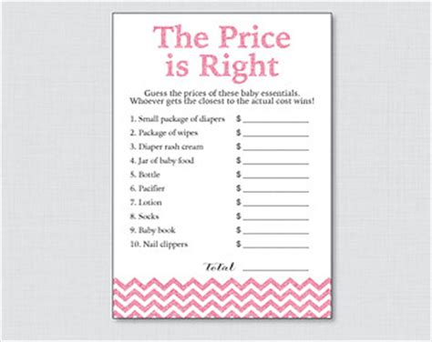 free printable price is right baby shower game template