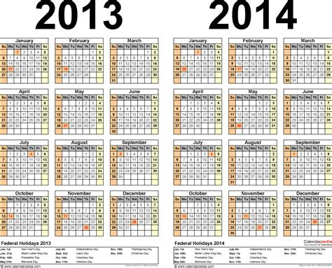 calendar 2014 template pdf 2013 2014 calendar free printable two year pdf calendars