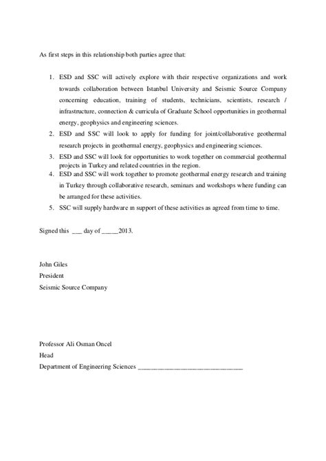 Letter Agreement Research Collaboration letter of agreement