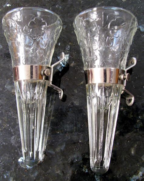 Car Vase by Vintage Glass Car Vases 2 Metal Bracket Holders Blossoms
