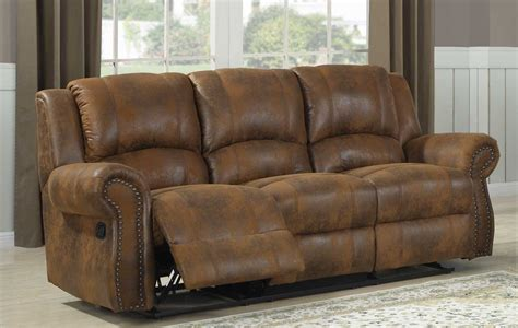 microfiber couch with recliner homelegance quinn double reclining sofa bomber jacket