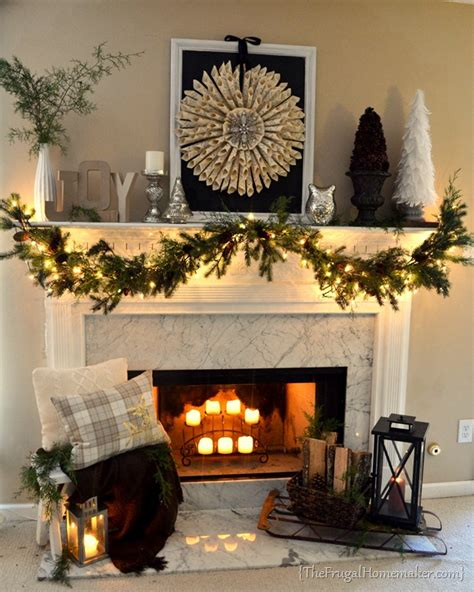 hearth decor neutral vintage christmas mantel
