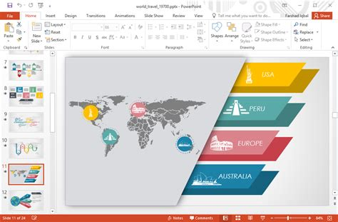 template animated world travel powerpoint