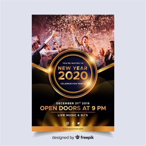 year  party poster template  photo  vector