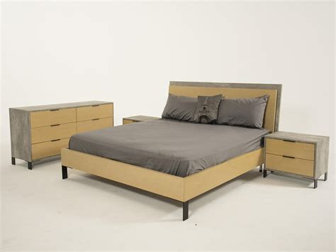 domus modern light walnut concrete bedroom set