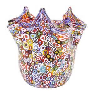 Carnival Glass Vase Murano Glass Vases Murano Glass Millefiori Fazzoletto
