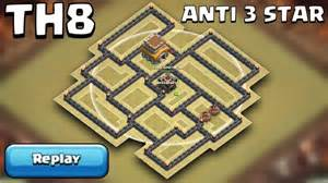 Clash of clans town hall 8 th8 war base anti 3 star with replays