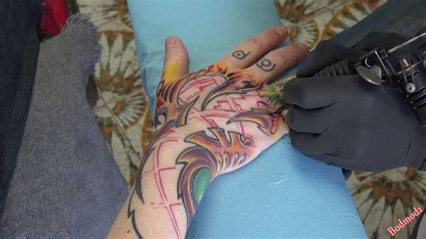 hand tattoo youtube biomec hand tattoo real time whole session part 2