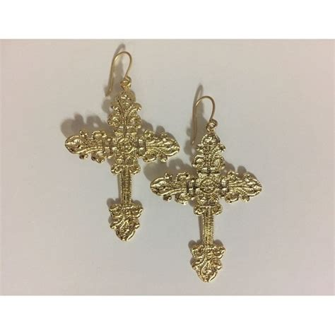 Yellow Gold Cross Earrings faux yellow gold large dangle cross earrings os from