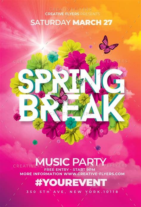 spring break psd flyer templates creativeflyers