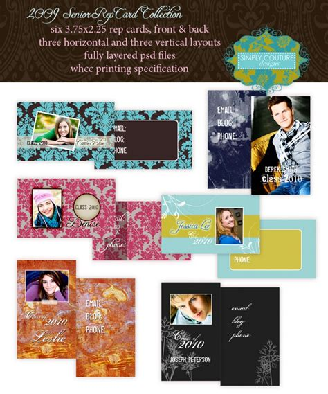 senior rep cards templates for photographers marketing templates for photographers simply couture