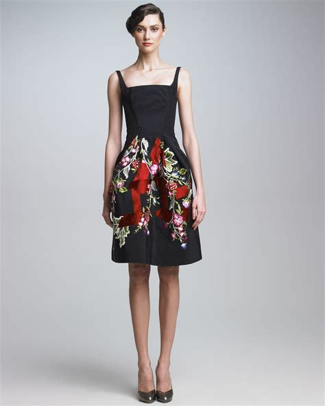 Embroidered Cocktail Dress lyst zac posen embroidered cocktail dress in black
