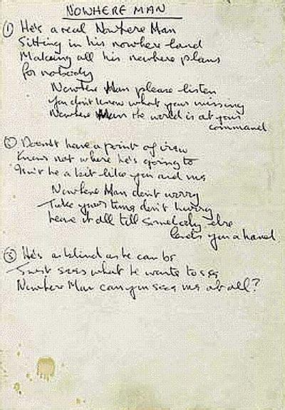 testo yesterday beatles lennon s handwritten lyrics to the song nowhere