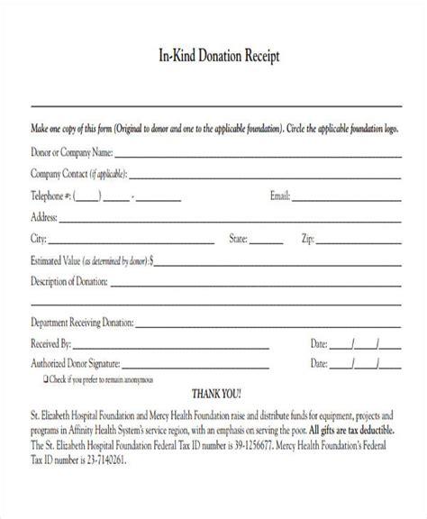donation receipt form sample  sample  format