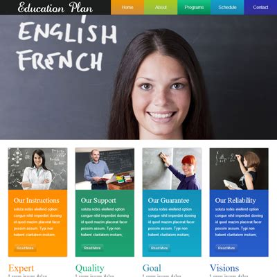 education website education plan web template and mobile website template