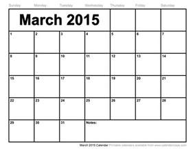 Calendar For March 2015 March Calendars