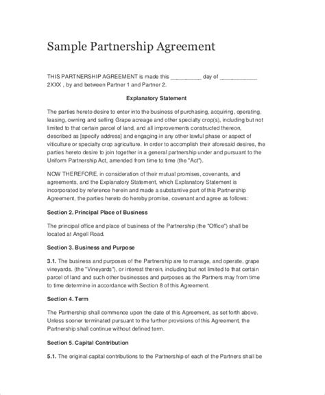 construction partnership agreement template 28 images