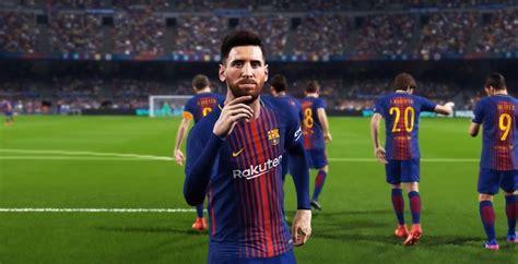 barcelona pes 2018 pes 2018 e3 trailer usain bolt maradona legends