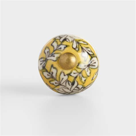 yellow floral mini ceramic knobs set of 2 world market