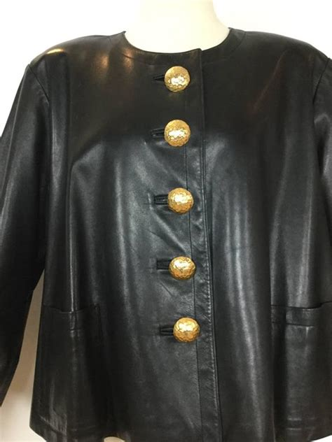 leather swing jacket yves saint laurent black leather swing jacket 1980 s at