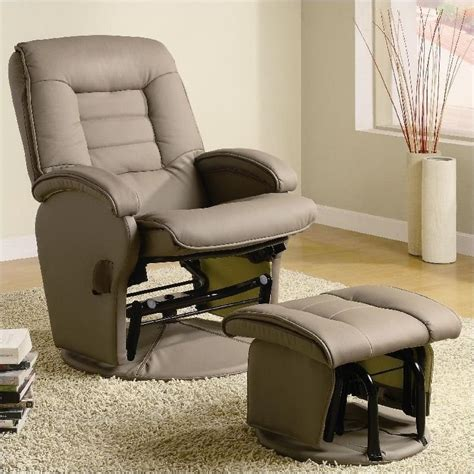 Glider Recliner With Ottoman Coaster Recliners With Ottomans Glider Chair With Ottoman In Vinyl 600166