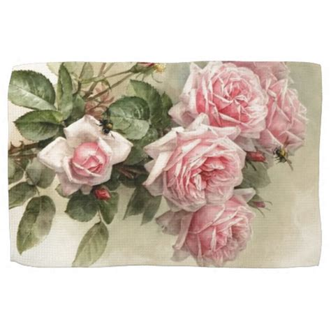 shabby chic pink victorian roses hand towels zazzle